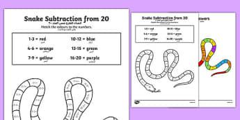 Colour Subtraction from 20 Snake Activity Sheet Arabic Translation - colour, subtraction, 20, snake, activities,substraction,suntraction,subtractio,subtrction,sutraction,subrtaction,subraction, arabic, primary, ks1, translation, worksheet