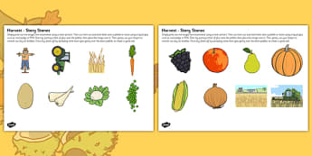 Harvest Themed Story Stone Image Cut Outs - Harvest, festival, season, story stones, stone art, painted rocks, story telling