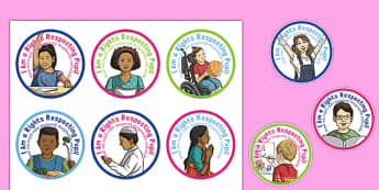 Rights Respecting Schools Badges Romanian Translation - romanian, UN Convention, children's rights, rights of the child, respect, rights, reward, award, stickers, Health and Wellbeing, PSHE, UN Charter