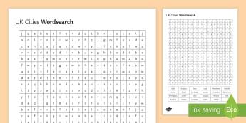 UK Cities Word Search Activity Sheet  - Secondary - Geography - Urbanisation