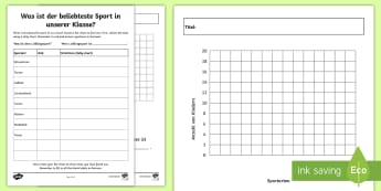 Our Favourite Sports Class Survey Activity Sheet - German  - Sports, Bar Chart, German, MFL, Languages, Bar charts, class survey
