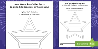 New Year's Resolution Stars Activity Sheet English/Italian - new year, targets, resolutions, happynewyear, new yeAT, new yearresolution, new yearresolutions, new
