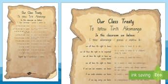 Waitangi Day Classroom Treaty  Display Poster - Te Reo Maori/English - Waitangi Day, Treaty of Waitangi, te tiriti o waitangi