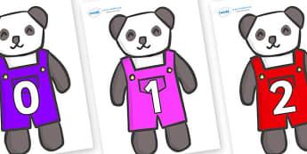 Numbers 0-50 on Panda Bears - 0-50, foundation stage numeracy, Number recognition, Number flashcards, counting, number frieze, Display numbers, number posters
