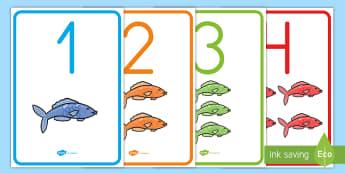 El pez arcoiris números de exposición - Bajo el mar, proyecto, contar, sumar, restar, operaciones, recta numérica,Spanish