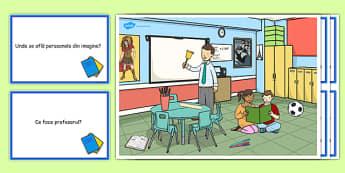 La școală, dezvoltarea vorbirii - Planșă - la școală, dezvoltarea vorbirii, planșă, comunicare, întrebări, răspunsuri, materiale didactice, română, romana, material, material didactic
