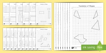 Translation of Shapes Activity Pack - Math, Geometry, Translation of Shapes, Shapes, Coordinate Grid, transformation