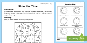 Show the Time Activity Sheet - july amazing fact, time, tell the time, time word problems, amazing fact, worksheet