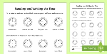 Reading and Writing the Time Activity Sheet - Time, activity sheet, quarter past, telling the time, reading the time, drawing the time, o'clock,
