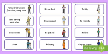 People Who Help Us-Themed Class Charter Cards - rules, behaviour, back to school, display, teacher organisation