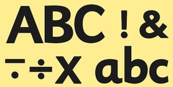 A4 Black Alphabet Display Lettering-display lettering, A4, black lettering, lettering for display, lettering, themed lettering, coloured lettering, letters