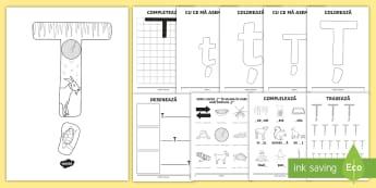 Consolidarea literei Ț Broșură - alfabetul, alfabetar, litere, sunete, grafisme,Romanian