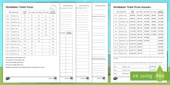 Wimbledon Money Calculations Including Mean, Median, Mode and Range Activity Sheet - table, reading, pounds, tennis, averages, data, worksheet