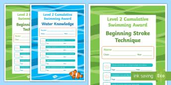 Level 2 Cumulative Swimming Certificates - physical education, swimming, aquatics, Level 2, cumulative, certificates, swim, skills, award, wate