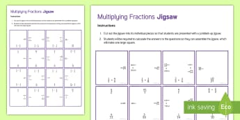 Multiplying Fractions Jigsaw Activity Sheet - Secondary, Maths, KS3, Mixed Number Fractions, Improper Fractions, Simplify, Simplest, Jigsaw, Numer