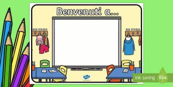 Benvenuti a Scuola Poster - benvenuti, benvenuto, insegna, scuola, ritorno, italiano, italian