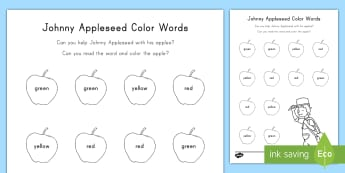 Johnny Appleseed Color Words Activity Sheet - Johnny appleseed, Color Words, Reading, Apples, Fall, Worksheet