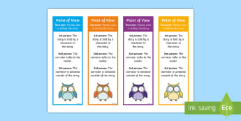 Point of View Bookmarks - First Person, second person, third person, narrator, common core, eLA