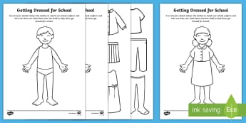 Getting Dressed for School Paper Dolls Activity - EYFS, Early Years, Reception, Back to School, transition, new school year, first week back at school