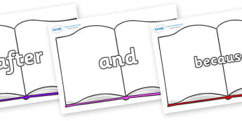 Connectives on Books - Connectives, VCOP, connective resources, connectives display words, connective displays
