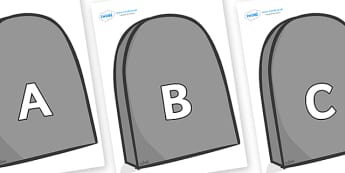 A-Z Alphabet on Grave Stones - A-Z, A4, display, Alphabet frieze, Display letters, Letter posters, A-Z letters, Alphabet flashcards