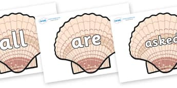 Tricky Words on Seashells - Tricky words, DfES Letters and Sounds, Letters and sounds, display, words