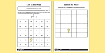 Finding 10 More or Less Lost in the Maze  Activity Sheet - Number and Place Value,counting on, problem solving, maths mastery, year 3, fun maths, hundreds, ten