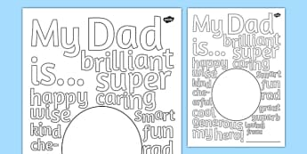 Father's Day Describing Words Drawing and Colouring Sheet - fathers, day, words, card