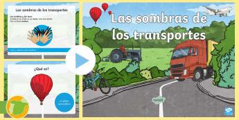 Presentación: Adivina la sombra - El transporte - transporte, coche, camión, avión, globo aerostático, autobús, moto, motocicleta, vía, carretera