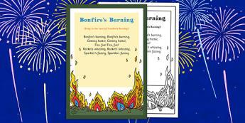 Bonfires Burning Rhyme - bonfires, burning, rhyme, eyfs, early years