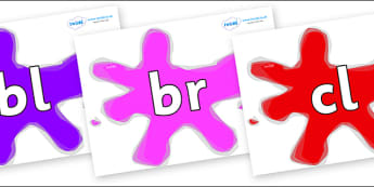 Initial Letter Blends on Splats - Initial Letters, initial letter, letter blend, letter blends, consonant, consonants, digraph, trigraph, literacy, alphabet, letters, foundation stage literacy