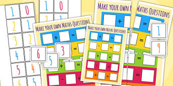 Make Your Own Maths Question Game - sums, maths, numeracy, add, subtract