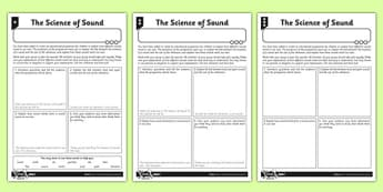 Science of Sound Differentiated Activity Sheet - activity sheet, science, sound, differentiated, worksheet