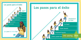 Steps to Success Display Poster Spanish - classroom, decoration, motivation, positivity, positive, message, organisation