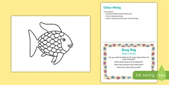 Colour Mixing Busy Bag Prompt Card and Resource Pack to Support Teaching on The Rainbow Fish