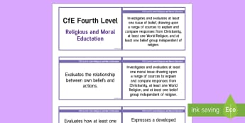 CfE Fourth Level Religious and Moral Education Lanyard-Sized Benchmarks - CfE Benchmarks, tracking, assessing, progression, RME, Religious and Moral Education, RE, RMPS, benc