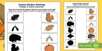 Autumn Shadow Matching Activity Sheet English/Italian - Autumn Shadow Matching Worksheet - seasons, weather, shadows, autmn, autunm, atumn, waether, aurum,