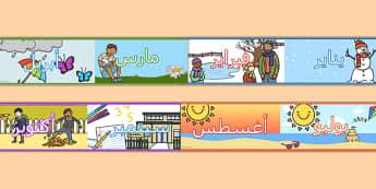 برواز عرض لشهور السنة - شهور السنة، وسائل تعليمية، موارد تعليمية