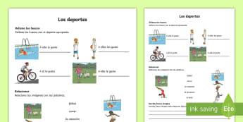 Sports Activity Sheet - Spanish, KS2, vocabulary, activity, sheet, worksheet, sports, opinions, like, hobbies