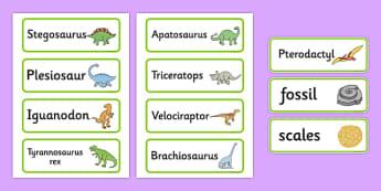 Dinosaurs Word Cards - Dinosaur, word card, flashcards, history, t-rex, stegosaurus, raptor, iguanodon, tyrannasaurus rex