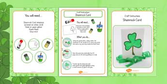 Shamrock Card Craft Instructions - shamrock, craft, instructions