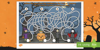 Halloween Themed Pencil Control Maze Activity English/Italian - Halloween, october, festival, autumn, celebration, spooky, ghosts, witch, zombies