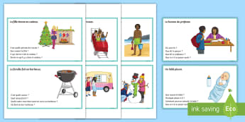 Inference Resources Scene and Question Cards French  - KS3, French, Inference, Resources, questions, vocabulary, tenses, plenary, starter, plenary.,French