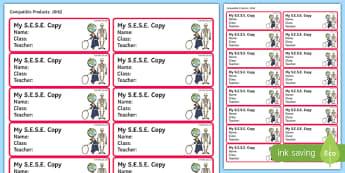 Pupil S.E.S.E. Copybook Labels-Irish