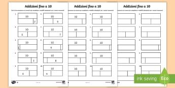 Addizioni fino a 10 con modelli frazioni Attività - addizioni, fino, a 10, con, modelli, frazioni,parti, matematica, calcoli, italiano, italian, differe