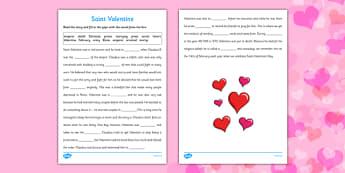 Saint Valentine Cloze with Word Bank Activity Sheet - Saint Valentine, cloze activity, solutions, history, Valentine's Day, reading, worksheet