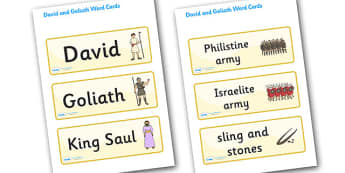 David and Goliath Word Cards - David and Goliath, David, King Saul, Goliath, word card, flashcards, cards, Philistine army, Israelite, sling, stones, sling and stones, death, kill, small, giant, clever