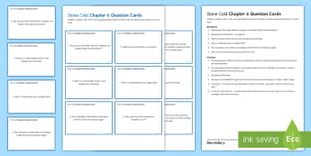 Chapter 6 Question Cards to Support Teaching on 'Stone Cold' by Robert Swindells - Swindells, Comprehension, Shelter, Link, Assess