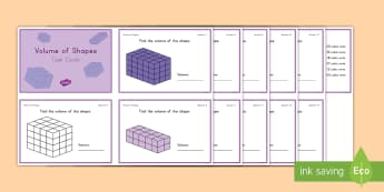 Volume of Shapes Challenge Cards - volume, shapes, cube, cubic, rectangular prism, height, width, length