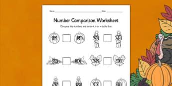 Thanksgiving Number Comparison Worksheet - worksheets, numbers